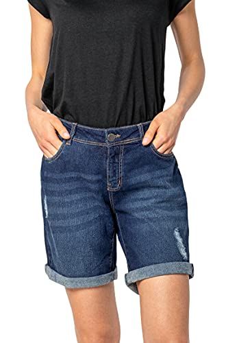 Sublevel Damen Stretch Jeans Bermuda-Shorts im Used-Look Dark-Blue XXL