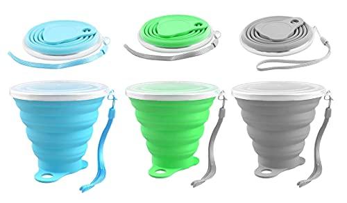 HUIRUMM Vasos de viaje plegables de silicona de silicona con tapa de cierre de plástico para senderismo al aire libre