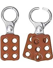 Master Lock Aldaba de consignación de aluminio 416, Rojo/Plata