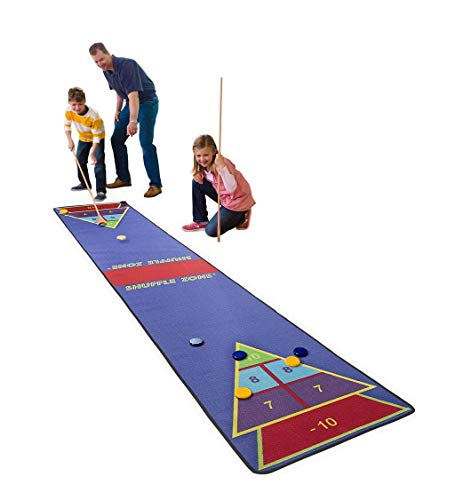 Shuffle Zone Play Carpet, Indoor Outdoor Shuffleboard Game for Kids, 2 Wooden Cues, 10 Wooden Pucks, Fun Strategy Game, 2.25'W x 12'L