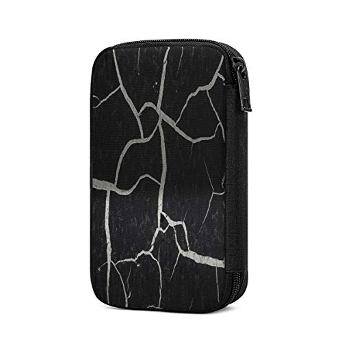 Electronics Organizer Old Cracked Paint Black Marble Travel Cable Accessories Cord Storage Bag Case Box to USB Wire Cellphone Mini Tablet for Office Home Traveling Smart & Safe Storage