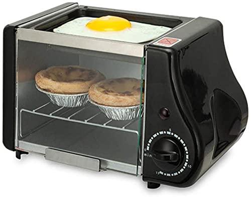 Multifunctionele Mini-oven met Top Non-Stick Friture Pan 15 Minute Timer Automatische Alarm Prompt voor kleine keukens Apartments Dorms-Zwart Improve