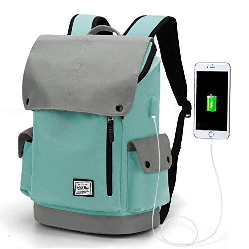 WindTook Mochila Mujer Mochila para Portatil Mujer 15.6 Pulgadas Impermeable Mochila Universidad Elegante Multiusos para Escolar/Viajes/Negocios/Trabajo Cían y Gris