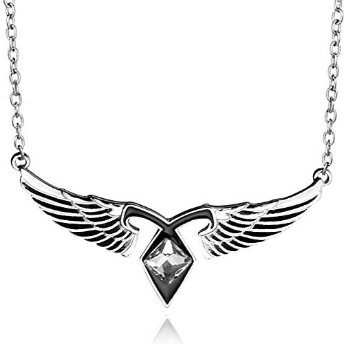 KTZM Collar de Ciudad de Huesos con alas de ángel, Colgante de alas de Instrumento Mortal con Cadena de eslabones para Hombres, Collar para Mujeres