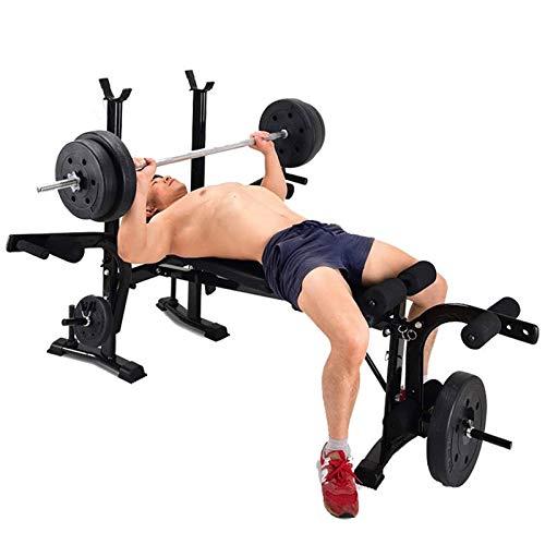 SYXZ Allt i ett platt fitness-viktbänk, justerbar bänkpress-ställning doppstation, gym hantel träning abs ben bar preacher curl träningsutrustning