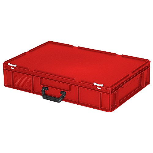 Euro-Koffer/Mehrzweckkoffer, LxBxH 600 x 400 x 130 mm, rot, mit 1 Tragegriff auf einer Längsseite