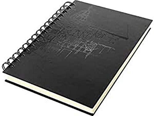 Skizzenbuch Kangaro A5 blanko,Wire-o, Hardcover, schwarz mit Druck, 140g creme Papier, K-5577