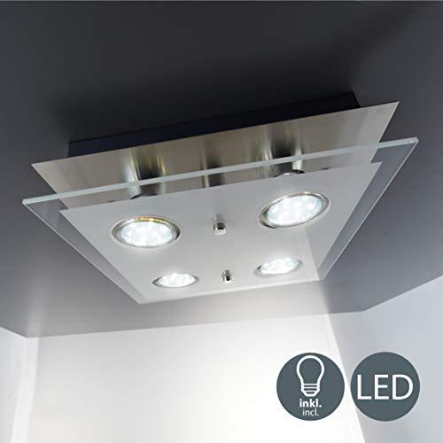 Plafoniera LED da soffitto, include 4 lampadine GU10 da 3W 250 Lumen, luce calda 3000K, lampada moderna da soffitto, lampadario quadrato corpo metallo e vetro, color nickel opaco 230V IP20