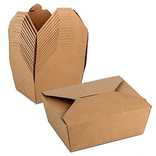 #8 Kraft Paper Food Container 6 x 4.75 x 2.5 inches with Lock Tab and Poly Coated Interior to Prevent Spills by MT Products (15 Pieces)