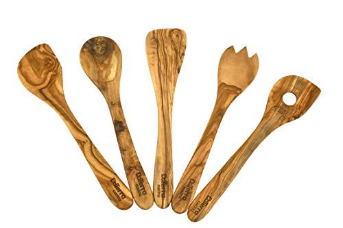 Olive Wood Cooking and Serving Utensils, Set of Five 12 inch utensils