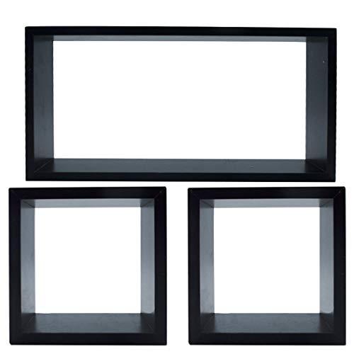 Mediawave Store - Juego de 3 estanterías en forma de cubo y rectangular de madera, para colgar en la pared, para dormitorio, salón, estantería para objetos, diseño moderno (madera negra)