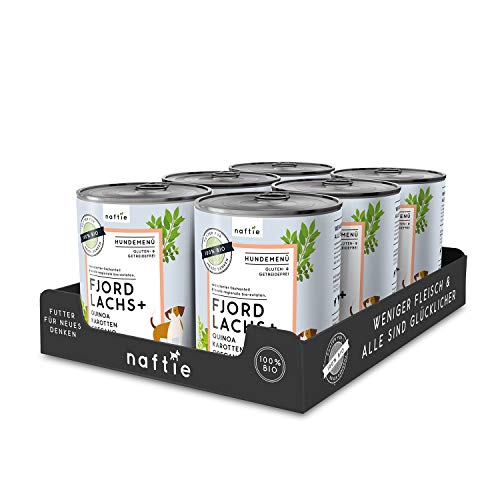 naftie Bio Hundefutter Fjord Lachs+ | Premium Nassfutter Menü mit Lachs-Fisch, Quinoa, Karotten & Oregano | Getreidefrei | Glutenfrei | purinarmes Futter | Diätfutter | Sparpaket 6X 800g Dosen