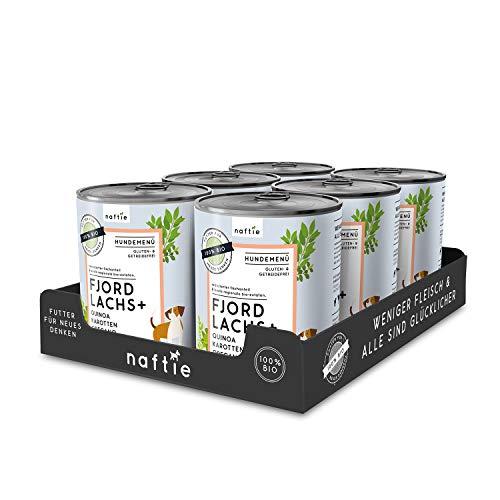 naftie Bio Hundefutter Fjord Lachs+ | Premium Nassfutter Menü mit Lachs-Fisch, Quinoa, Karotten & Oregano | Getreidefrei | Glutenfrei | Sparpaket 6 x 800g Dosen
