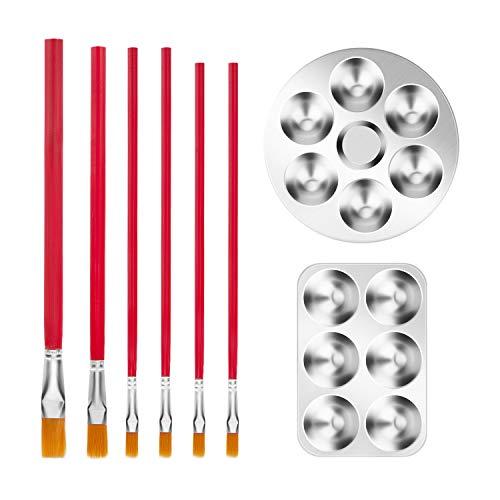 DEXIDUO Bandeja de paleta de color de 2 piezas, paleta de aluminio redonda de 6 pozos, paletas de bandeja de color redonda para manualidades DIY, arte profesional, pintura de acuarela al óleo