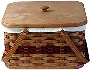 Amish Handmade Square Double Pie Basket w/Inside Tray, Lid, and Two Swinging Carrier Handles (Green w/Liner, Large)