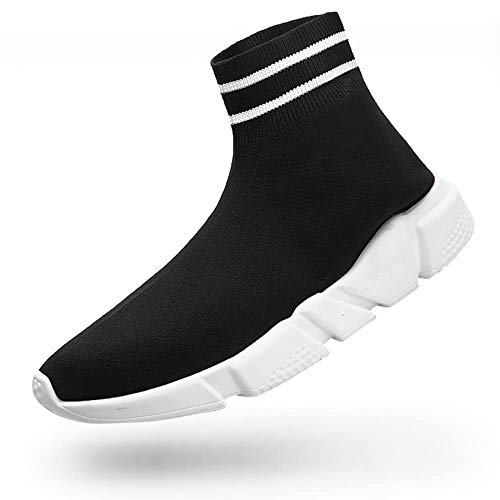 ziitop Women's Fashion Sneakers Walking Shoes, Men's Ultra Lightweight Breathable, Casual Athletic Running Shoes Knitted Socks Shoes Black 10.5 Women/9.5 Men