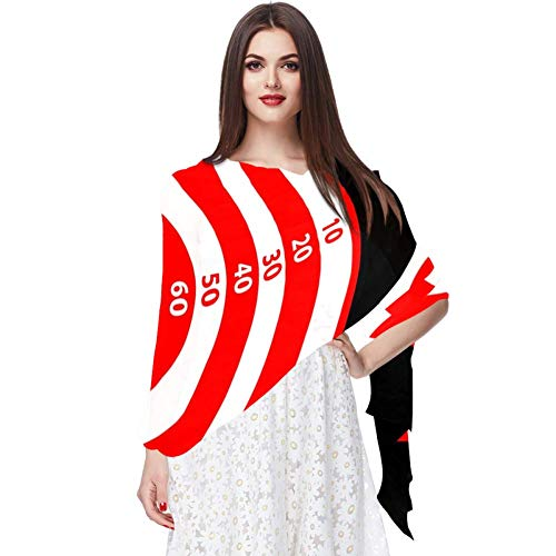 Dragon Sword Silk Scarves for Women Dart Board With Score Sheer Shawl Wraps