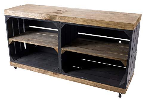 Vintage Möbel 24 GmbH 1x Schicker Fernsehschrank, aus Holz mit 4 Rollen, als Hingucker im Wohnzimmer, neu, 100x30x50cm (Schwarz)