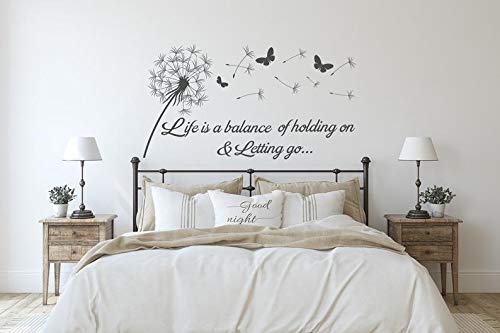 Andelion Sticker mural citation Life is a Balance of Holding On and Letting Go