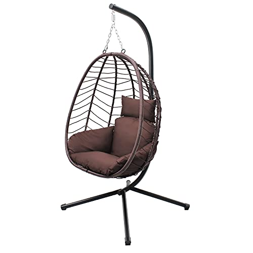 VARVIND Hammock Chair ,Swing Egg Chiar with Stand and Cushions, Pillow, Foldable Wicker Rattan Hanging Egg Chair,Adjustable Height ,Anti-UV&Waterproof, Indoor and Outdoor Use,286Lbs(Brown)