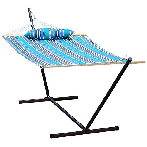 Prime Garden Freestanding Hammock with 12ft Portable Steel Stand, Spreader Bar, Detachable Pillow, Blue Stripe