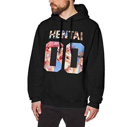 BAODANLE Sweats à Capuche Homme Hentai 00 Longsleeve Mens Long Sleeve Sweatshirts Man Hoodies Black Casual Top