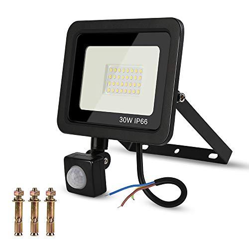 Hospaop 30W LED Strahler mit Bewegungsmelder, 2700LM Superhelle Fluter Flutlicht Außen,Kabel, Wasserdicht IP66, Tageslicht 6000K kaltweiß Scheinwerfer Licht für Garage, Garten und Vorplatz