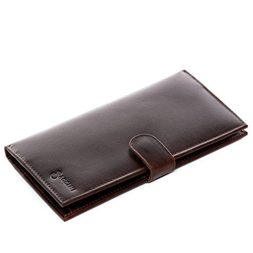 BACCINI® portafoglio vera pelle vintage LEANDRO grande portamonete con più scomparti uomo donna cuoio marrone