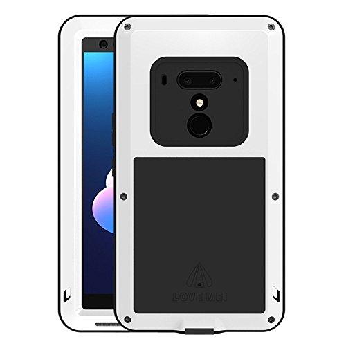 HICASER HTC U12+ Custodia Impermeabile Waterproof, Antipolvere, Anti Neve, Anti Urti, Antiurto Protettiva Resistente all'Acqua Cover per HTC U12+ / U12 Plus Metallo, Lega di Alluminio Case Bianco