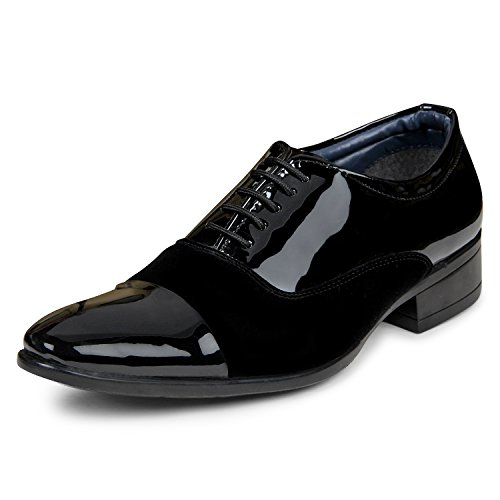 XE Looks Men's Black Comfortable Patent Leather/Velvet Lace-up Formal Shoes (335-0092, Size: 8 UK/Ind, 42 Euro)