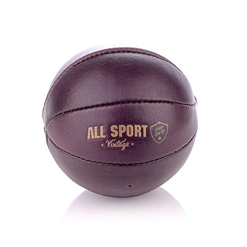 All Sport Vintage – Mini balón de baloncesto y base de césped – Marrón Vintage – Piel de búfalo – Cosido a mano – Fabricación francesa