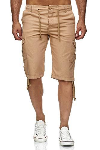 Reslad Leinen Cargo Shorts Männer Strandhose Herren Leinenhose 3/4 Hose Freizeit Kurze Hosen Sommer Bermudas RS-3001 Camel M