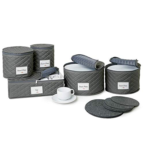 Bulb and Shade Quilted China Storage Containers - 5-Piece Dish and Cup Storage Set for Storing, Protecting or Transporting Your Cherished Dinnerware