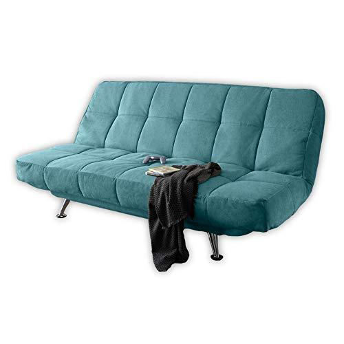 Stella Trading IKAR Bequemes Schlafsofa mit Bettkasten, Microfaserbezug Grün - Klappbares Sofa mit Schlaffunktion und Metallfüßen - 208 x 102 x 98 cm (B/H/T)