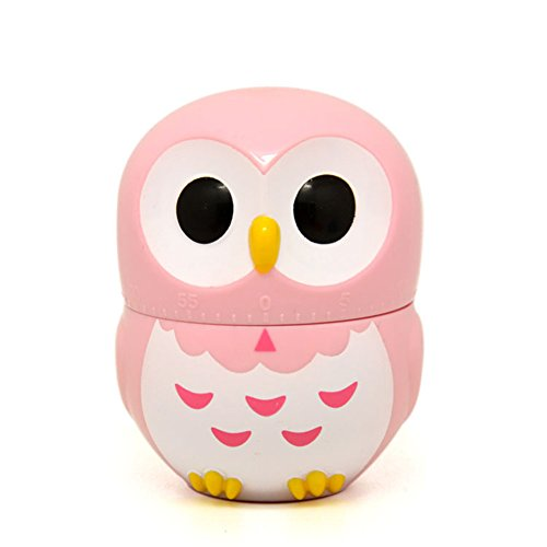 Golandstar Cute Cartoon Owl Timers Mini Size 60 Minutes Mechanical Kitchen Cooking Timer Clock Loud Alarm Counters Manual Timer (Pink)