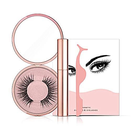 Hete-supply Kit de Faux Cils Aimant Liquide pour l'eye-Liner magnétique 2019 | Faux Cils Réutilisables | Set de Maquillage Pinces à Cils Look Naturel avec Pince à Cils