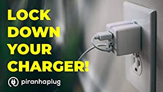 Lock in Plug – Prevent Lost or Stolen Cell Phone Chargers & Cords! Piranha Plug Locks Into Your Outlet. Compatible with iPhone, Android, USB C - Installs in Seconds