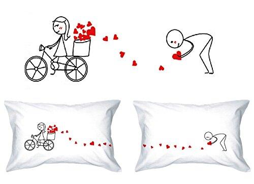 Human Touch - Amor LA Pista - De El y de Ellas - Fundas de Almohada romántica Peculiar, Regalo de Boda, Regalo de San Valentín, o Simplemente para elevar una Sonrisa.