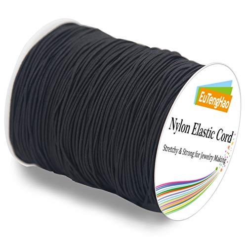 EuTengHao 0.8mm Nylon Elastic Cord for Bracelet Satin Nylon Decorative Cord Nylon Hand Knitting Cord String Beading Thread Bracelet Rope for Necklace Bracelet Jewelry Making (Black,110Yards/0.8mm)