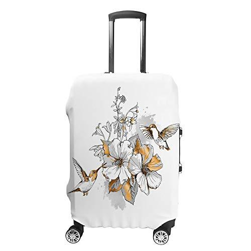 CHEHONG Funda para maleta, diseño de flores tropicales y pájaros, color dorado,...