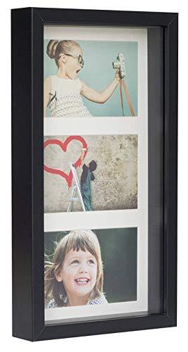 BD ART Marco 18 x 35 cm Box 3D para Fotos Color Negro con Paspartu para 3 Fotos 10 x 15 cm. Frente de Vidrio.
