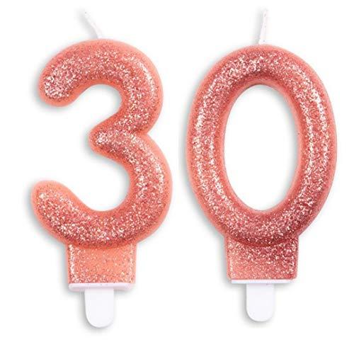Zahlen Kerzen 30. Geburtstag in Rosegold Glitzer Events Jubiläum Torte Cupcake Muffins & Kuchen (18. Geburtstag)