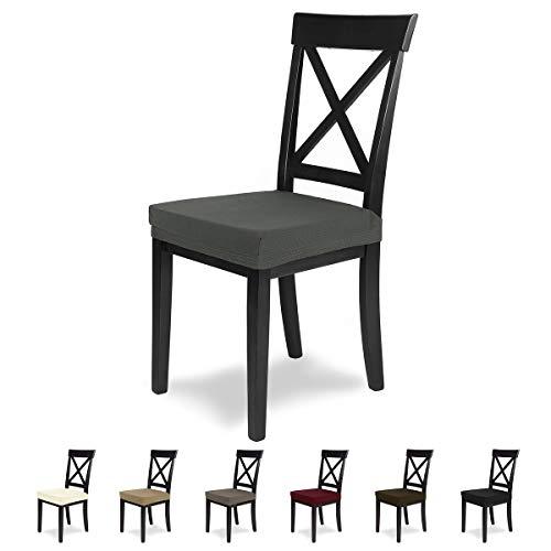 SCHEFFLER-Home Stretch Stuhlbezug Mia | 4er Set elastische Stuhlauflagen | Sitzbezug Esszimmerstuhl | Elegante Auflage für Stühle | Mikrofaser Stuhlhussen Stretch mit Gummiband