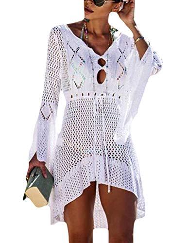 Bsubseach Mujer Vestido de Playa Croché Pareo de Playa V-Cuello Trje de Baño Blanco Cubrir Bikini Camisola y Pareos