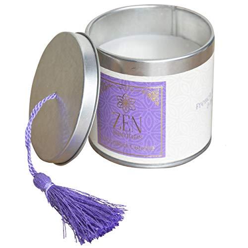 Hogar & Mas geurkaars cadeau 120 g, geurkaarsen Zen met decoratieve doos, 7,5 x 7,5 x 7 cm, violet