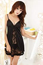 Sexy Women V Neck Babydoll Lingerie Sheer Chemise Sleepwear with G-string
