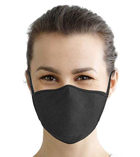 100% Cotton Face Mask Reusable Washable with Filter | Super Soft 3 Layer Jersey Knit Lightweight Fabric | Adjustable Elastic Earloops -Black [Single Pack]
