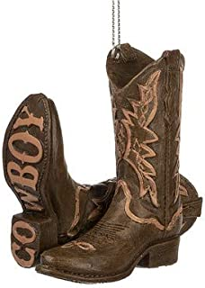 On Holiday Brown Cowboy Boot Christmas Tree Ornament