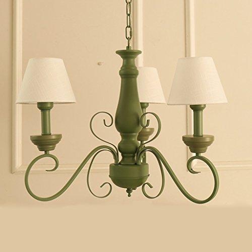 DEI QI Frischer und stilvoller grüner eiserner Kronleuchter, französisches pastorales kreatives Wohnzimmerhotel Schlafzimmer verzierte Deckenlampe, weiße weiße Leinentuchlampen des Kopfes 3, grüne E27