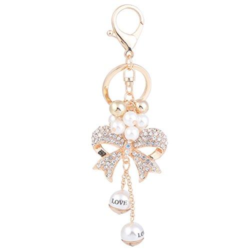 LUOEM Schleife Strass Taschenanhänger Schlüsselanhänger Schlüsselbund mit Perle Gravur für Auto Tasche Schlüssel Geldbörse Rucksack (Golden)
